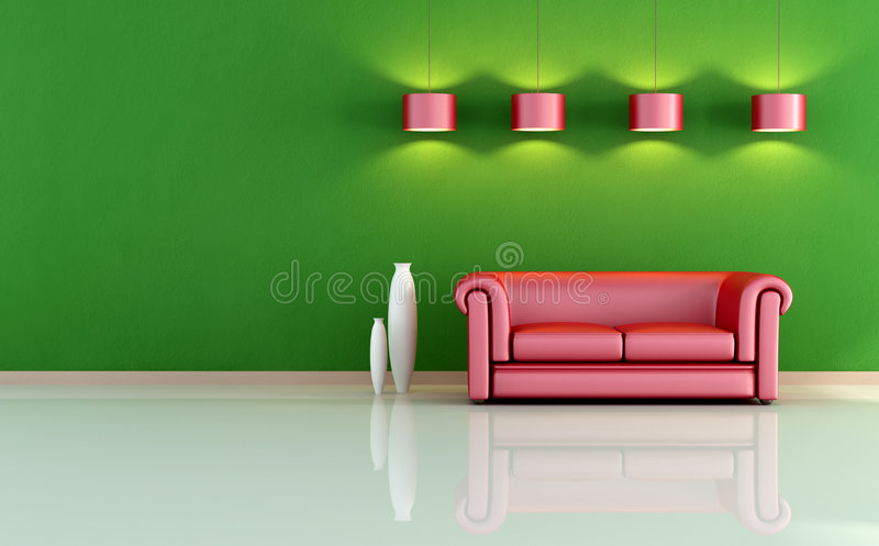 Red and green living room. Red sofa in a minimal room - rendering