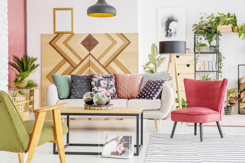 Red and green living room stock photography