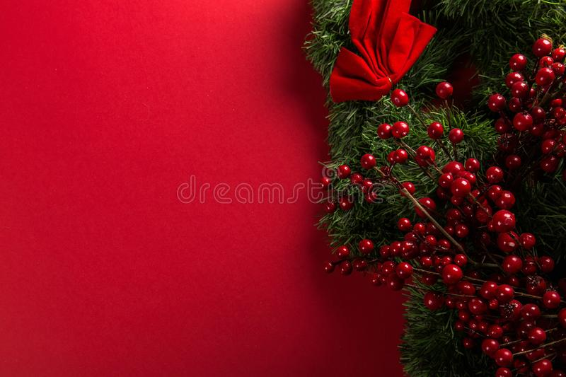 Red And Green Mistletoe Decoration stock photo