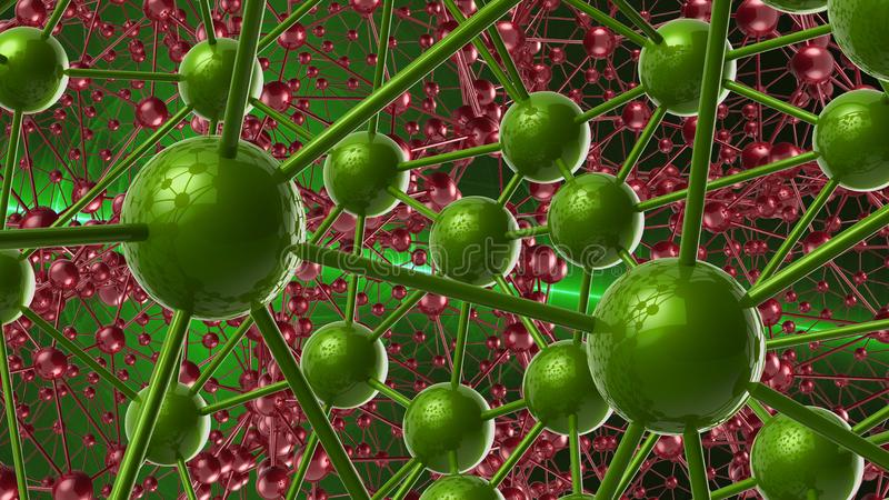 Red and green Molecular geometric chaos abstract structure. Science technology network connection hi-tech background 3d rendering. Illustration vector illustration