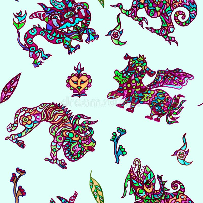 Ethnic ornament mythical monsters couple inspired by fusion of Ukrainian, Indian and Mexican traditional motifs. Red green neon colors ethnic ornament mythical royalty free illustration