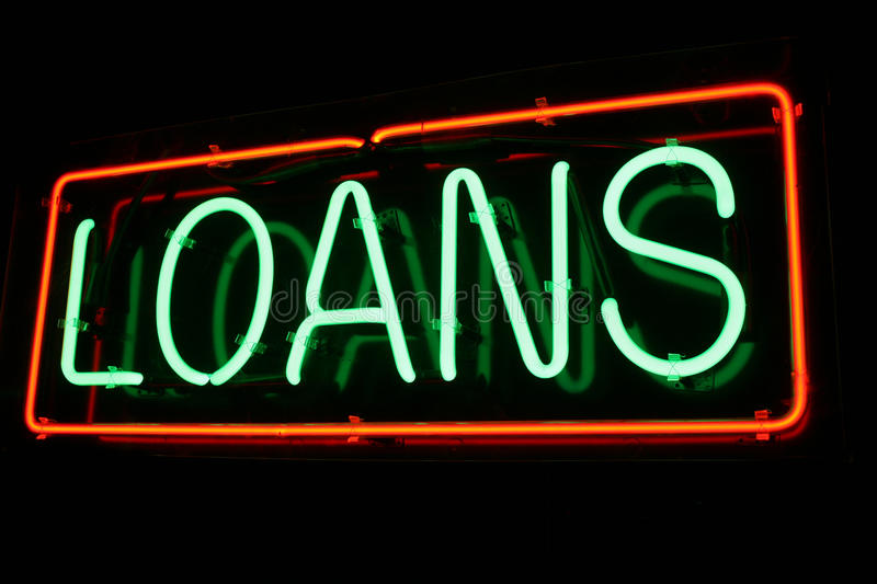 Red and Green Neon Loan Sign