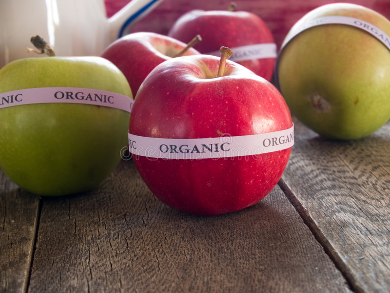 Download Red & green organic apples stock image. Image of labeled - 7101543