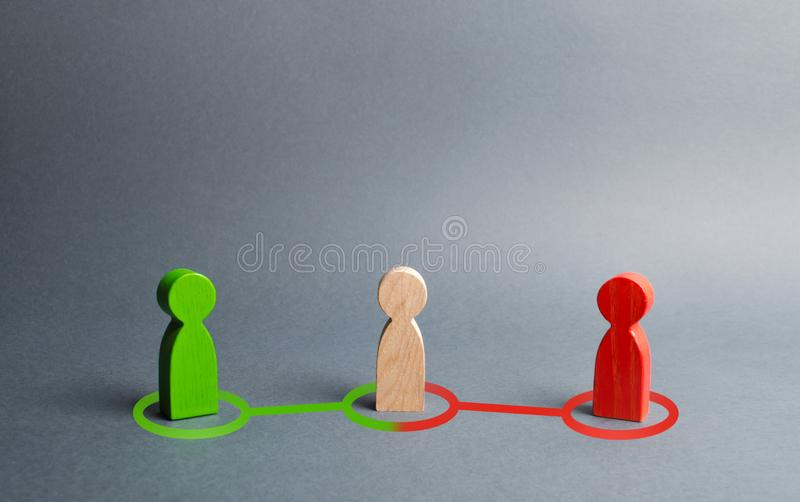 Red and green people want to recruit person in the center to his side. Pressure, influence on person opinion. Search for allies. Fight for votes. Passion in stock image