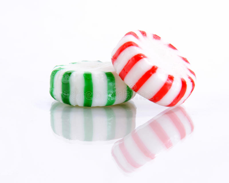 Red and Green Peppermint Candy stock photos