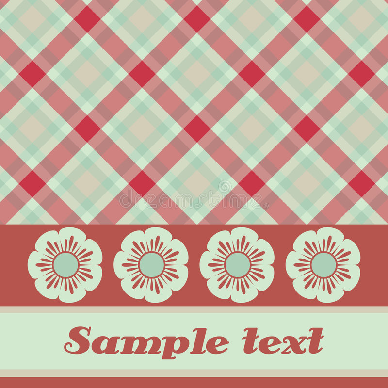 Red and green plaid flower card vector illustration