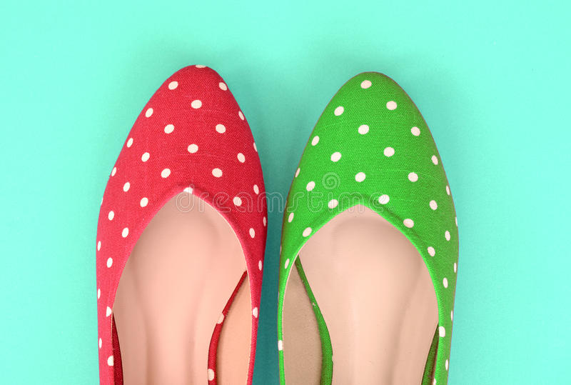 Red and green polka dot flat shoes (Vintage style) royalty free stock images