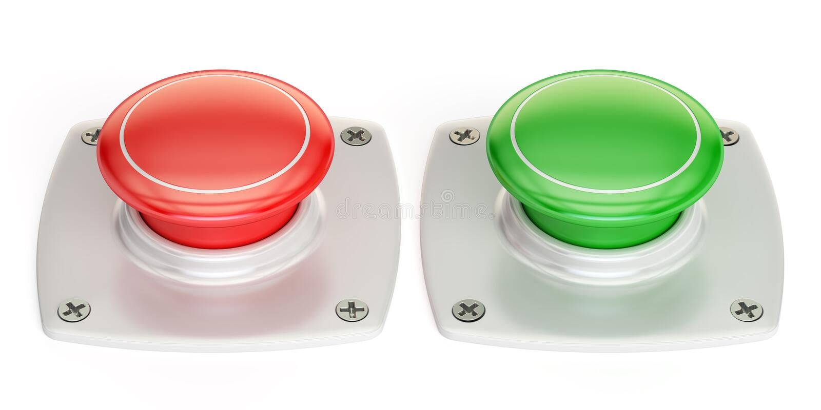 Red and green push buttons, 3D rendering. On white background royalty free illustration