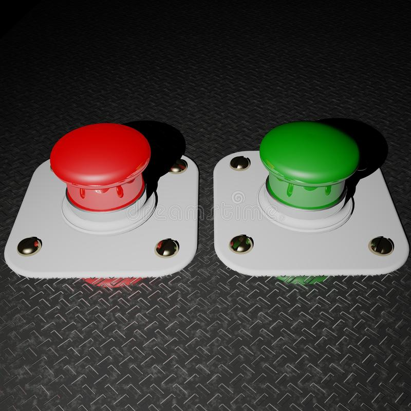 Download Red and Green pushbuttons stock illustration. Image of push - 23158143