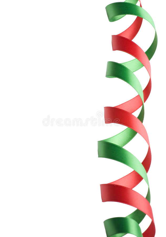 Red and Green Ribbon Border stock photo