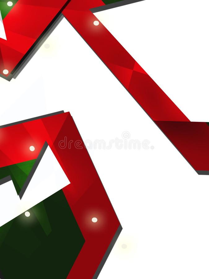Red and green shiny shapes overlap abstract background. Vertical creative background stock illustration