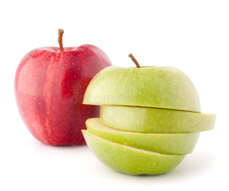 Red and green sliced apples royalty free stock photo