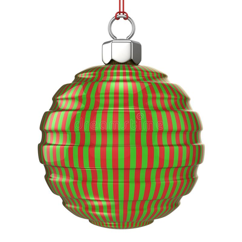 Red and green striped Christmas ball isolated vector illustration