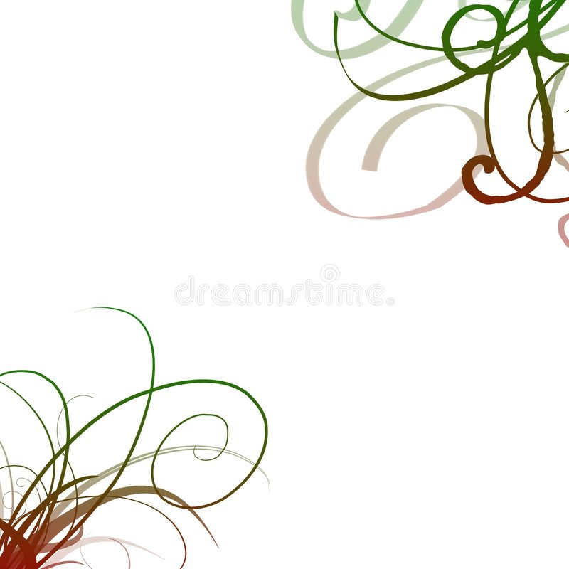 Red green swirls. A white background with red and green swirls on opposite corners stock illustration