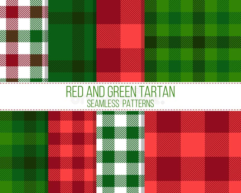 Red and green tartan, seamless patterns vector illustration
