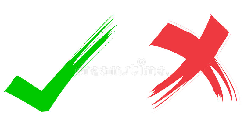 Red & Green Ticks. Red painted tick Green painted tick Correct sign Wrong sign Mark sign royalty free illustration