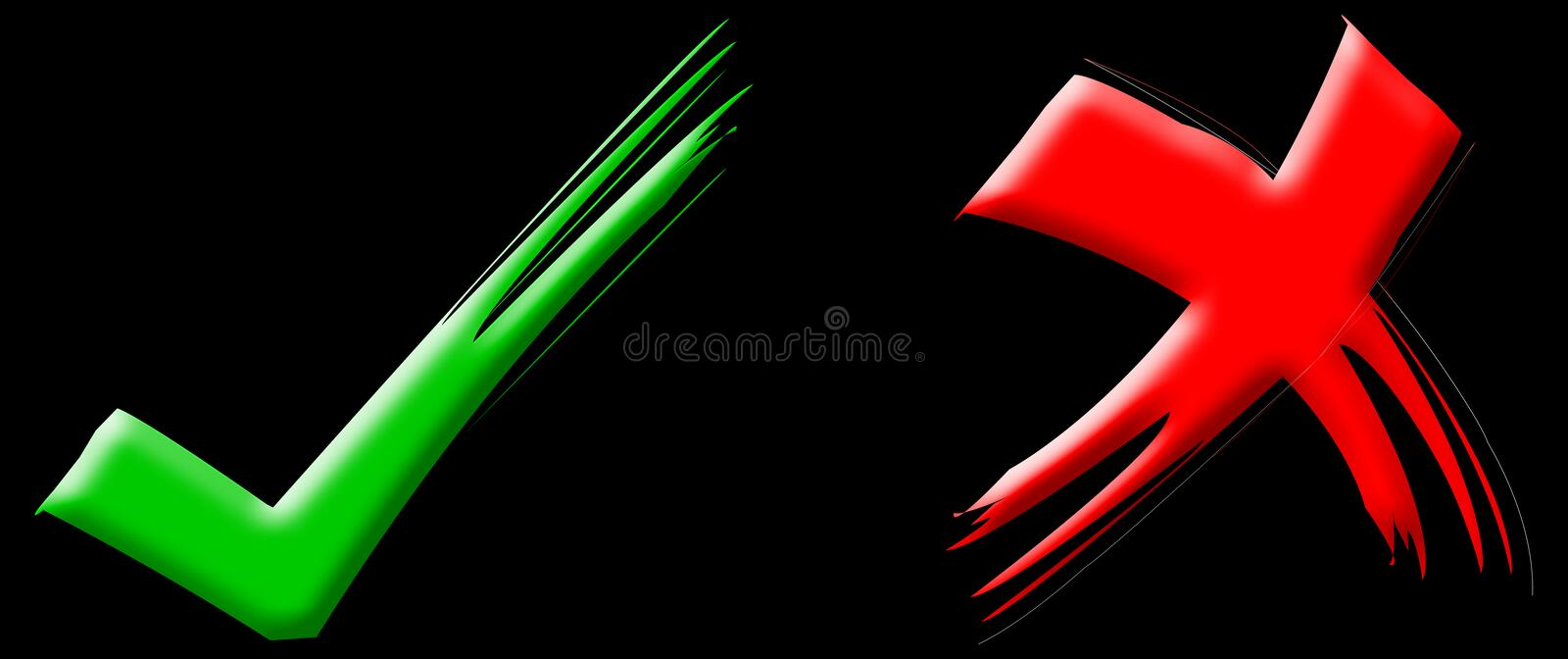 Red & Green Ticks. Red painted tick Green painted tick Correct sign Wrong sign Mark sign stock illustration