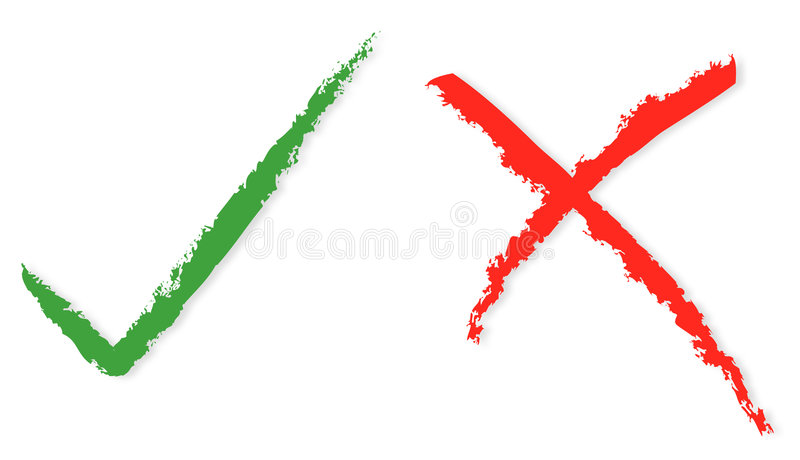 Red and green ticks. The red and green paint for correct and wrong stock illustration