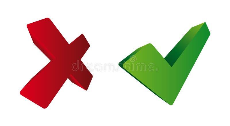 Red & Green Ticks. Vector illustration royalty free illustration