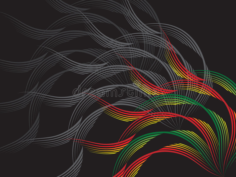 Red and green wave on black stock illustration