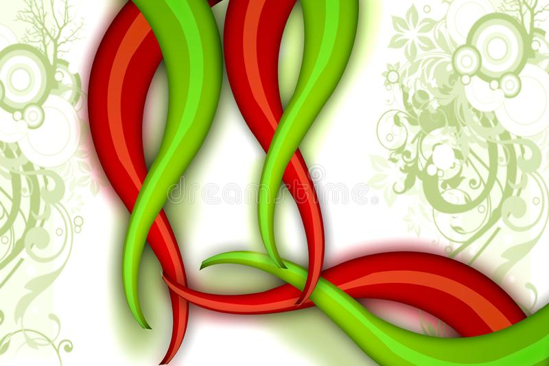 Red and green waves  abstract background. Red and green waves abstract background - creative background stock illustration