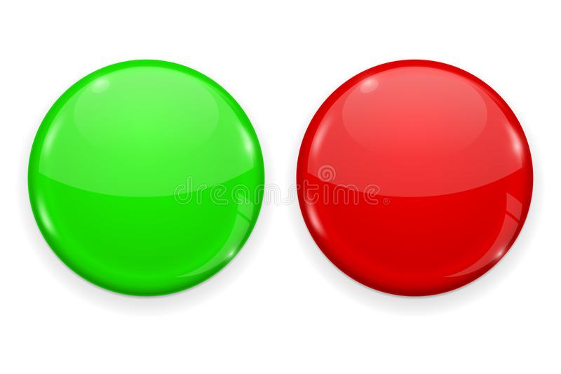 Red and green web button isolated on white background. Round 3d icon vector illustration