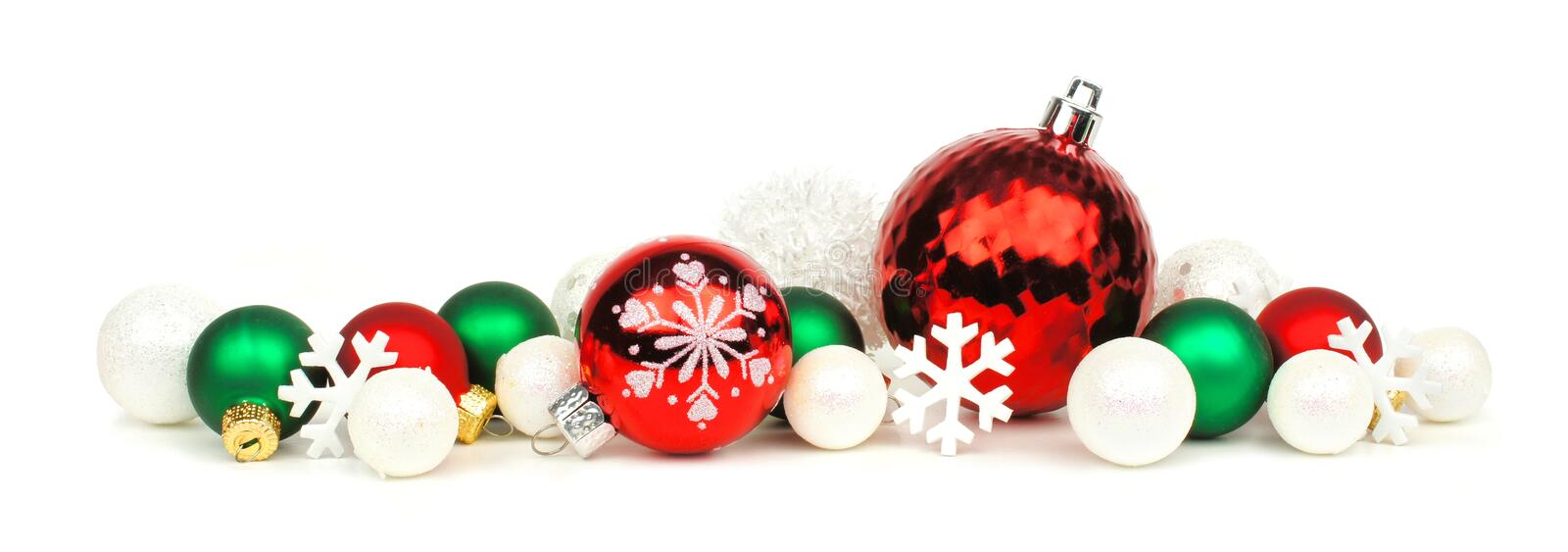 Red green and white christmas ornament border stock photo