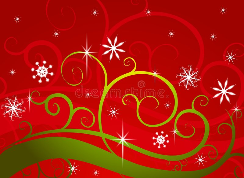 Download Red Green Winter Wonderland Snowflakes Royalty Free Stock Image - Image: 3697016