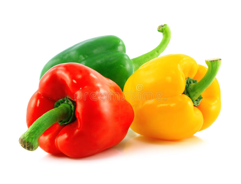 Red,green and yellow bell peppers stock photos