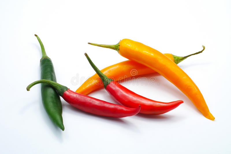 Red green yellow color chilli pepper isolated on white background royalty free stock image