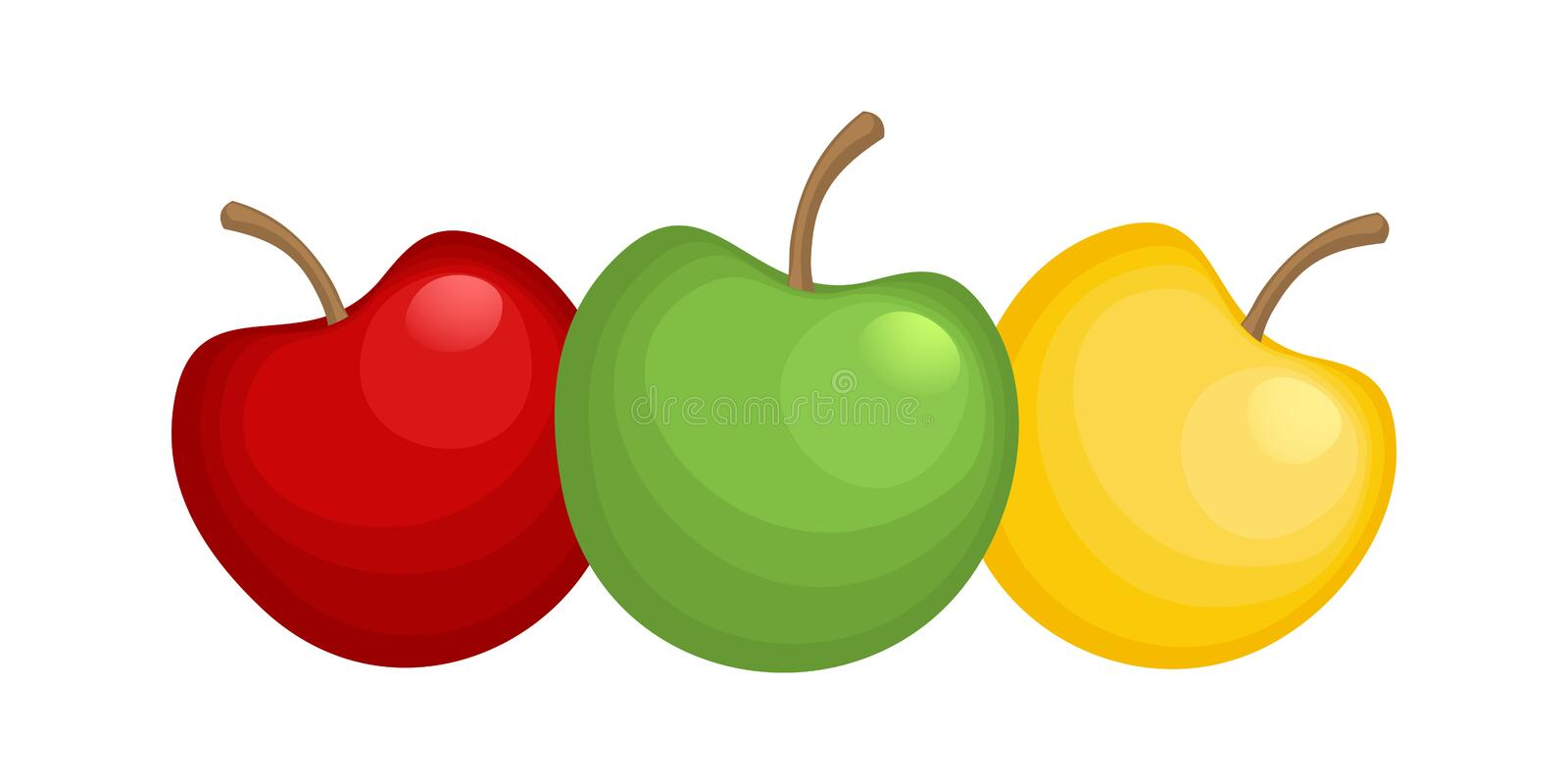 Three sweet apples. Red, green and yellow fruits. Symbol of healthy food. Vector illustration stock illustration