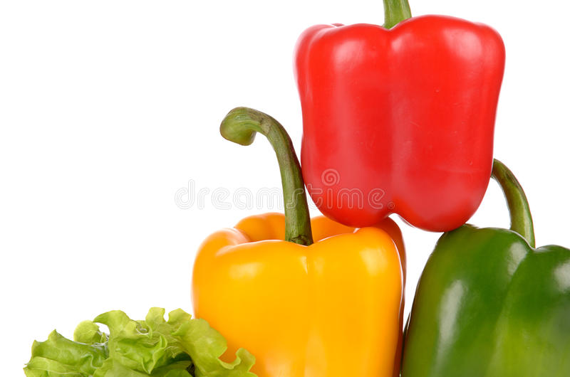 Red Green and Yellow peppers on salad leaf isolated stock images