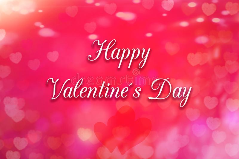 Greeting card with heart in the background and a text Happy Valentines Day stock photography