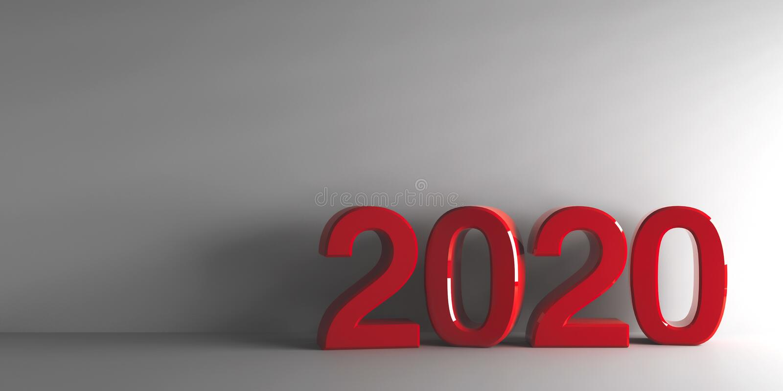 Red 2020 new year vector illustration