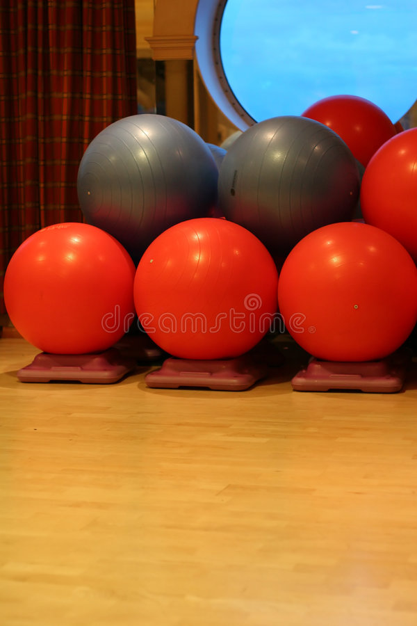 Red and Grey Yoga Balls stock photography