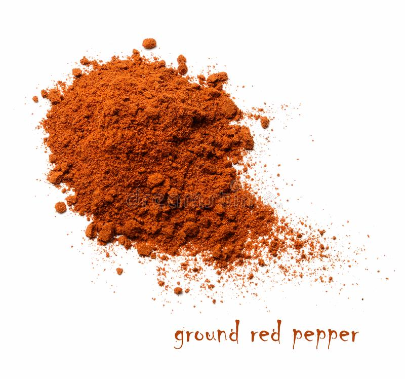 Red ground pepper. White isolated background.Top view. Red ground pepper. White isolated background. View from above stock photography