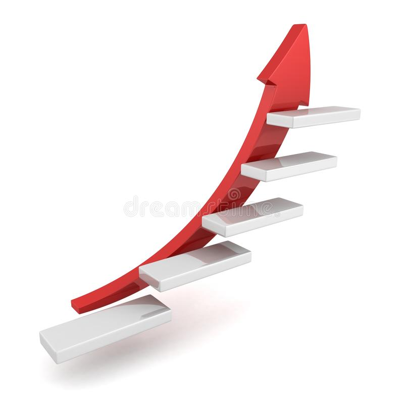 Red growing up success arrow and upstairs steps la vector illustration