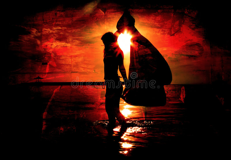 Red Grudge with Woman and Sun. Red Grunge Background with Woman on Beach royalty free stock photography