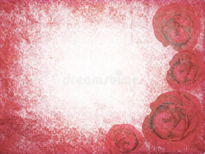 Red grunge background with roses. stock illustration