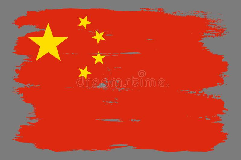 Red grunge chinese flag with yellow stars. Chinese flag with cool grunge texture. Vector flag of China in official red yellow colors with grunge texture vector royalty free illustration