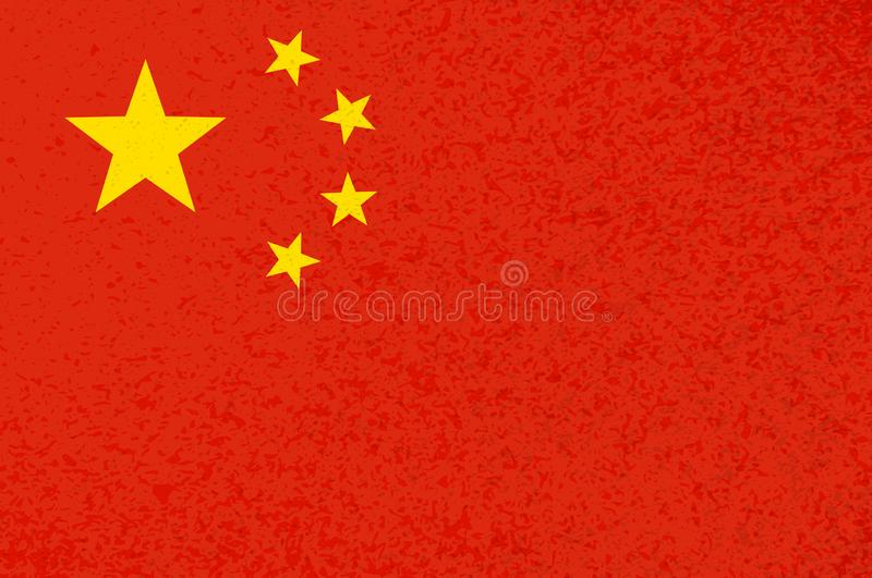 Red grunge chinese flag with yellow stars. Chinese flag with cool grunge texture. Vector flag of China in official red yellow colors with grunge texture vector stock illustration