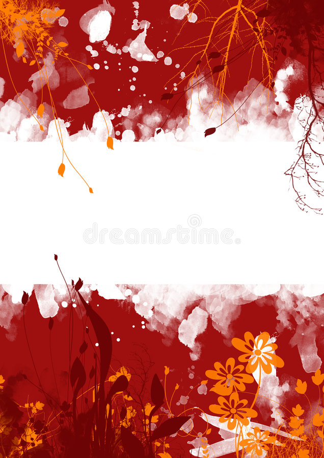 Red grunge floral background royalty free illustration