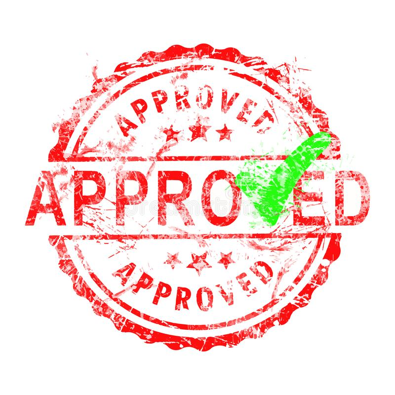 Red grunge rubber stamp APPROVED with green check vector royalty free illustration