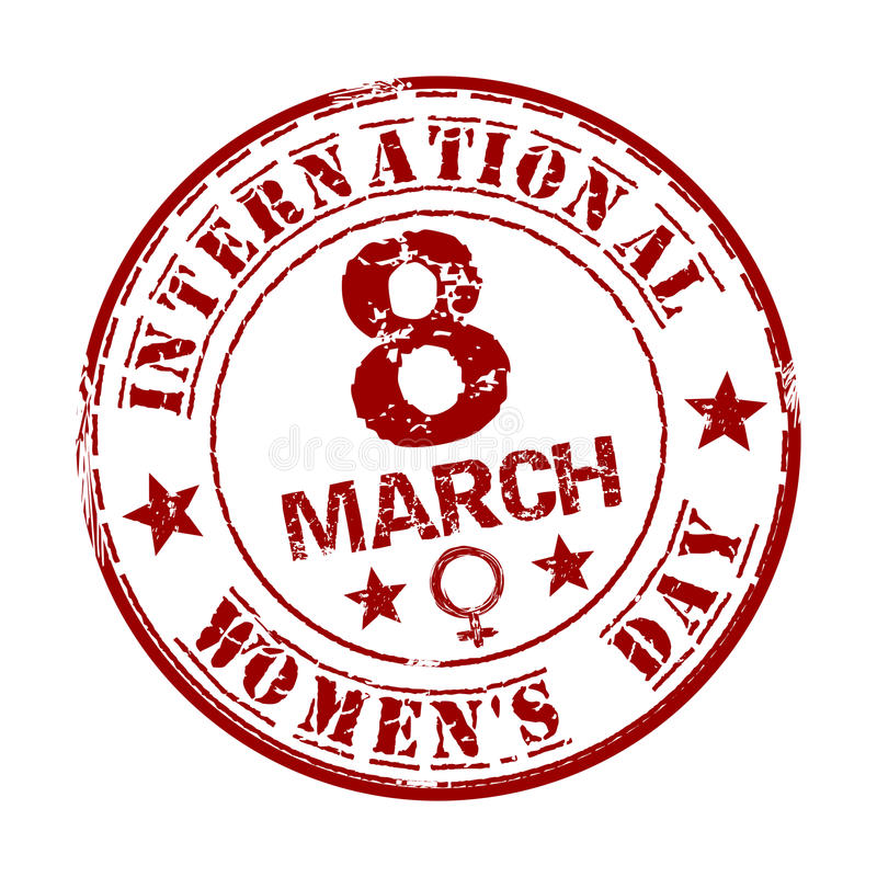 Red grunge rubber stamp with the text International Womens Day written inside. March 8 vector illustration
