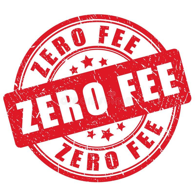 Stamp zero fee. Red grunge stamp zero fee on white background vector illustration