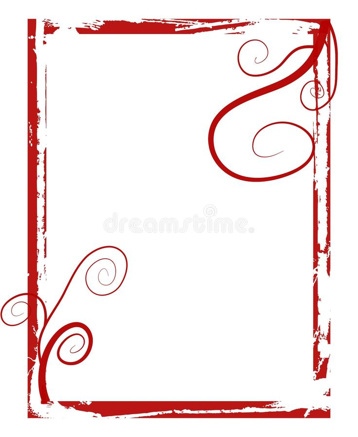 Red grunge swirls frame stock photography