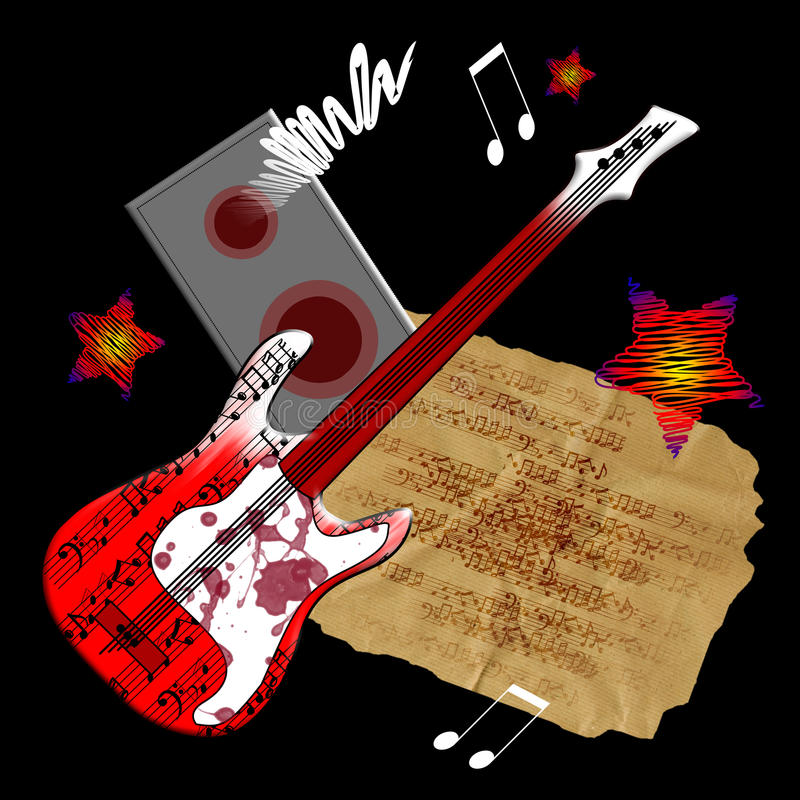 Red guitar. Vector guitar, speaker and notes on black background royalty free illustration