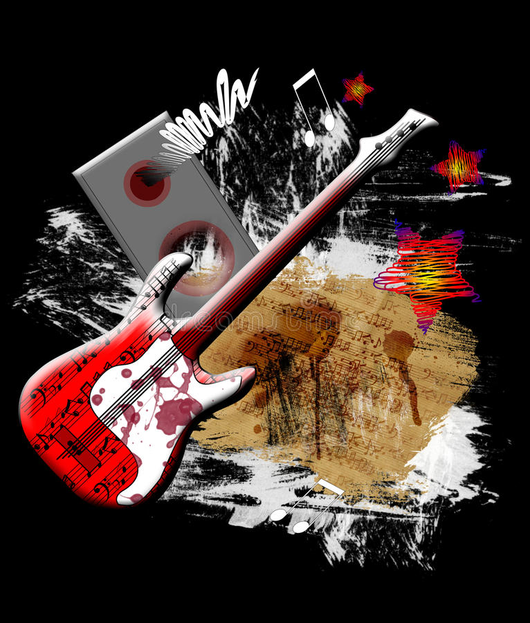 Red guitar. And paint splats on black background stock illustration