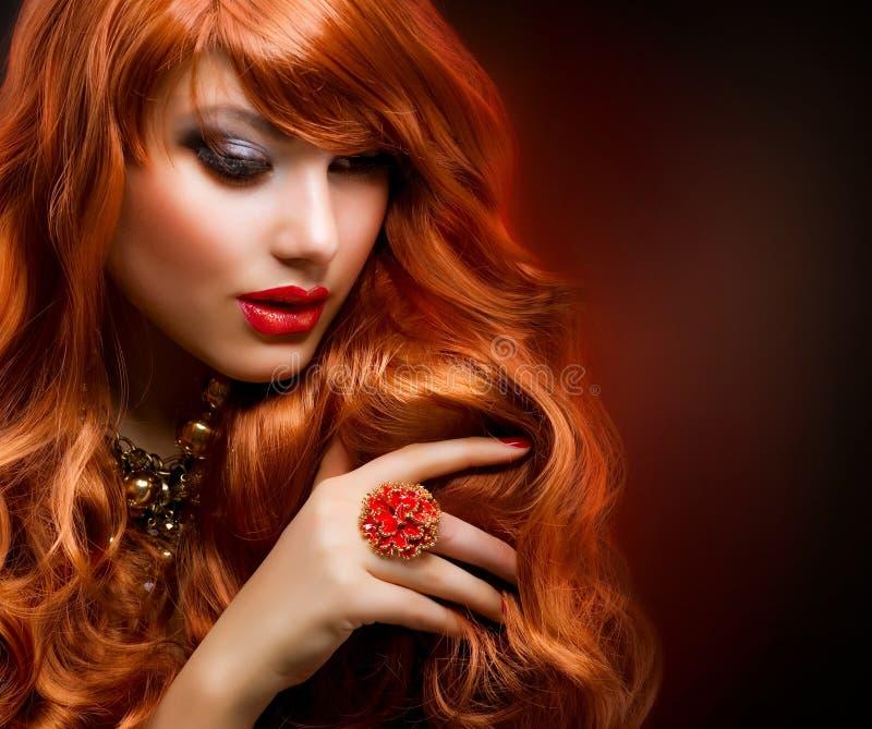 Red Hair. Wavy Red Hair. Fashion Girl Portrait