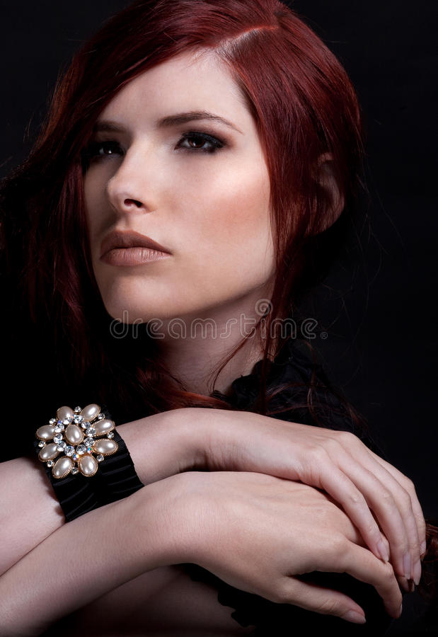 Download Red hair beauty stock photo. Image of closeup, make, elegance - 21661560